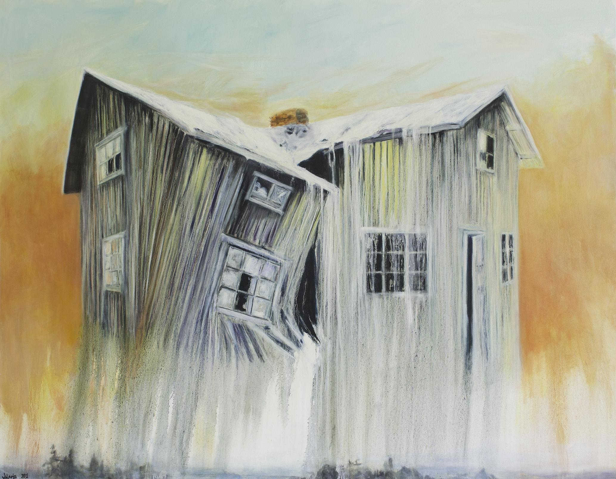 Henkien talo, 2021, öljyväri kankaalle, 105x135 cm