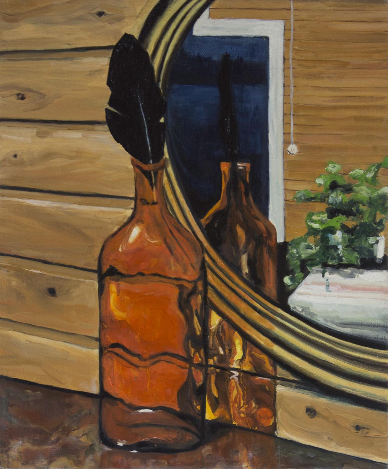 Peilimaailma, 2018, öljy kankaalle, 55 x 60 cm, taiteilija Johanna Laaja